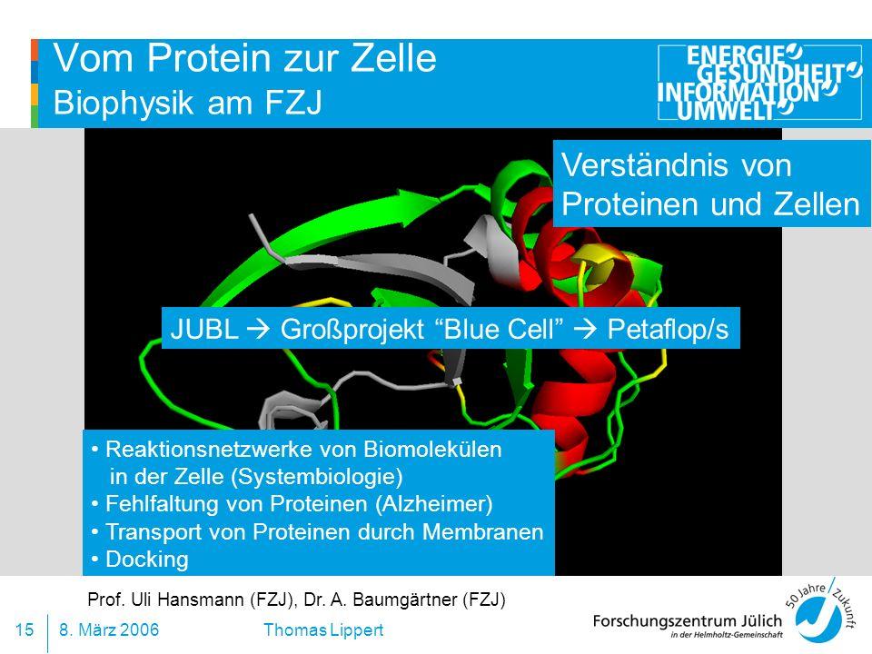 8. März 200615 Thomas Lippert Vom Protein zur Zelle Biophysik am FZJ Verständnis von Proteinen und Zellen JUBL Großprojekt Blue Cell Petaflop/s Prof.