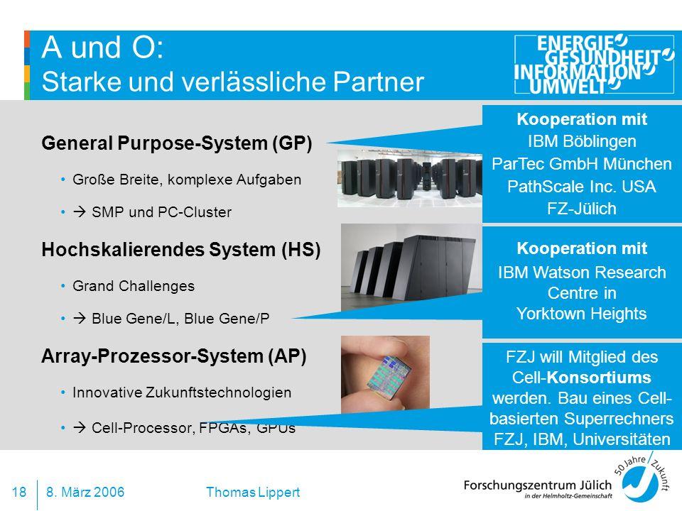 8. März 200618 Thomas Lippert A und O: Starke und verlässliche Partner General Purpose-System (GP) Große Breite, komplexe Aufgaben SMP und PC-Cluster
