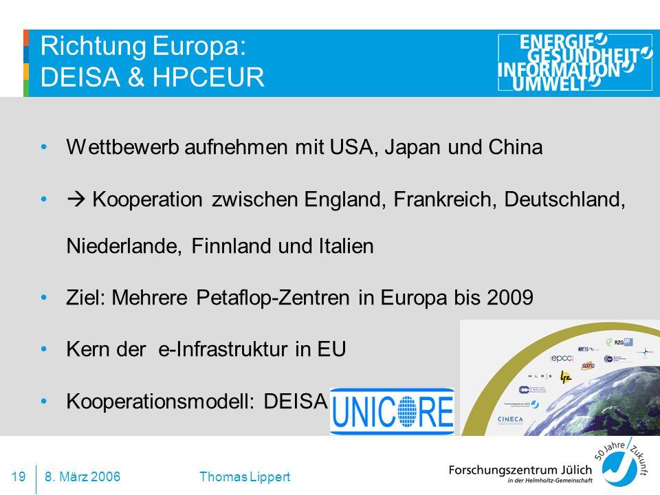 8. März 200619 Thomas Lippert Richtung Europa: DEISA & HPCEUR Wettbewerb aufnehmen mit USA, Japan und China Kooperation zwischen England, Frankreich,