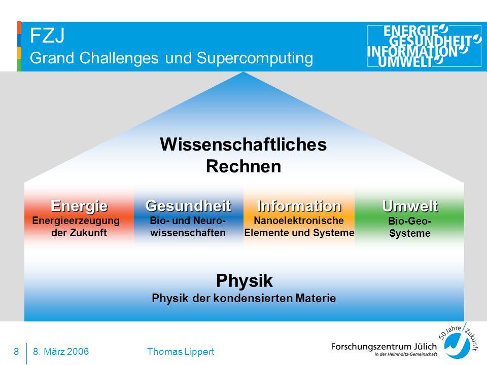 8. März 20068 Thomas Lippert FZJ Grand Challenges und Supercomputing Wissenschaftliches Rechnen Physik Physik der kondensierten MaterieInformation Nan