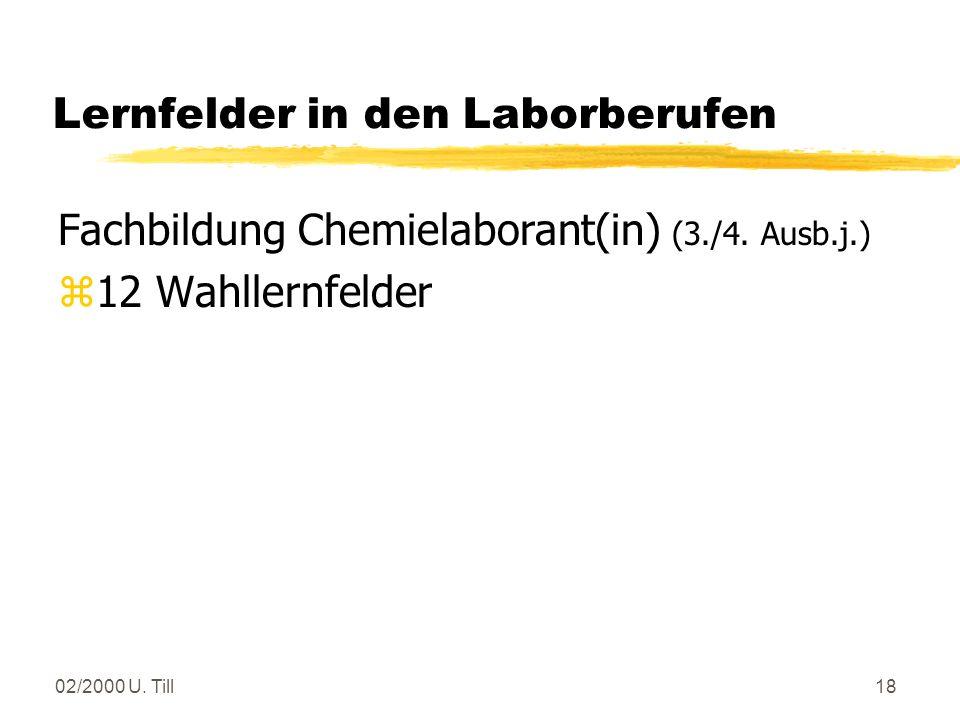 02/2000 U. Till17 Lernfelder in den Laborberufen Fachbildung Chemielaborant(in) (2. Ausb.j.) zPräparate unterschiedlicher Stoffklassen synthetisieren