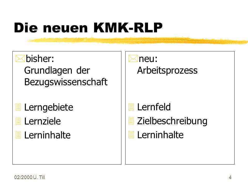 02/2000 U. Till3 Der Rahmenlehrplan ist in Lernfelder gegliedert Lernfelder sind durch Zielformulierungen beschriebene thematische Einheiten. Sie soll