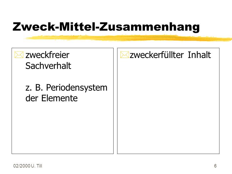 02/2000 U. Till5 Lerngebiet versus Lernfeld zLerngebiet: inhaltsorientierte Einheit i. a. abgeleitet aus der Fachsystematik z Lernfeld: berufsorientie