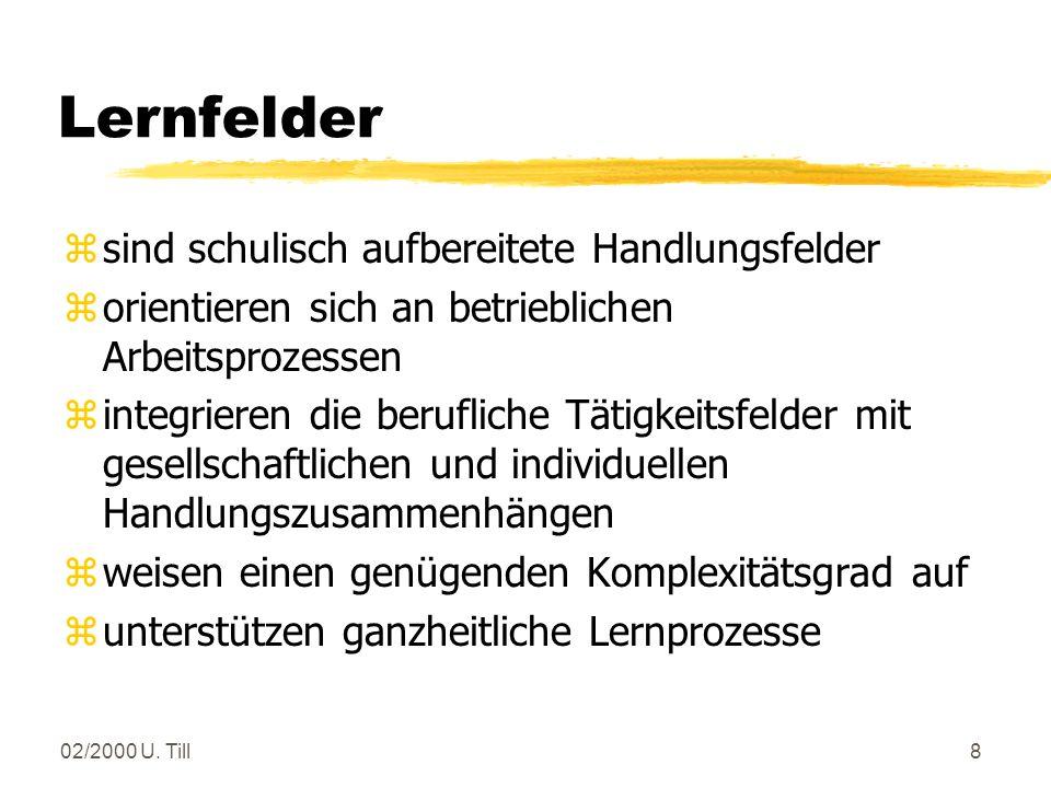 02/2000 U.Till18 Lernfelder in den Laborberufen Fachbildung Chemielaborant(in) (3./4.