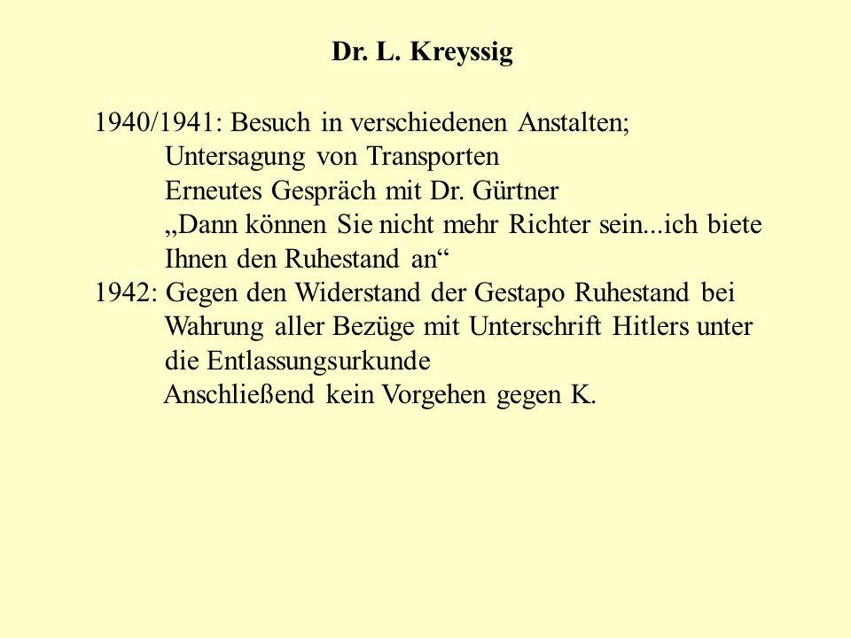 Dr. L. Kreyssig 1940/1941: Besuch in verschiedenen Anstalten; Untersagung von Transporten Erneutes Gespräch mit Dr. Gürtner Dann können Sie nicht mehr