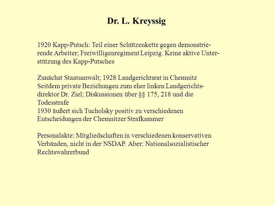 Dr. L. Kreyssig 1920 Kapp-Putsch: Teil einer Schützenkette gegen demonstrie- rende Arbeiter; Freiwilligenregiment Leipzig. Keine aktive Unter- stützun