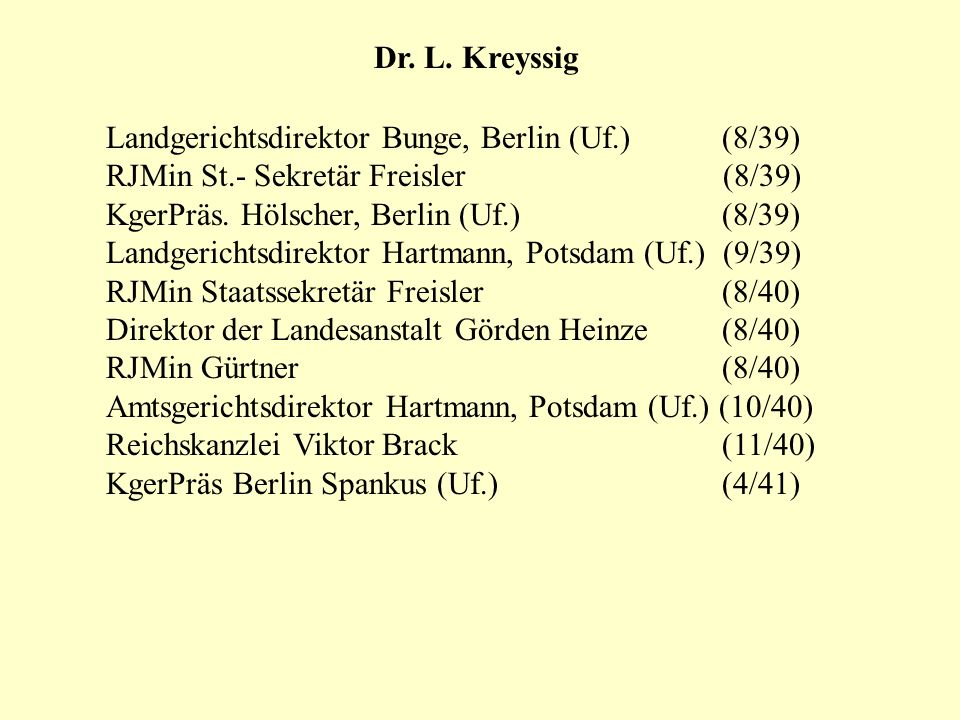 Landgerichtsdirektor Bunge, Berlin (Uf.) (8/39) RJMin St.- Sekretär Freisler (8/39) KgerPräs. Hölscher, Berlin (Uf.) (8/39) Landgerichtsdirektor Hartm