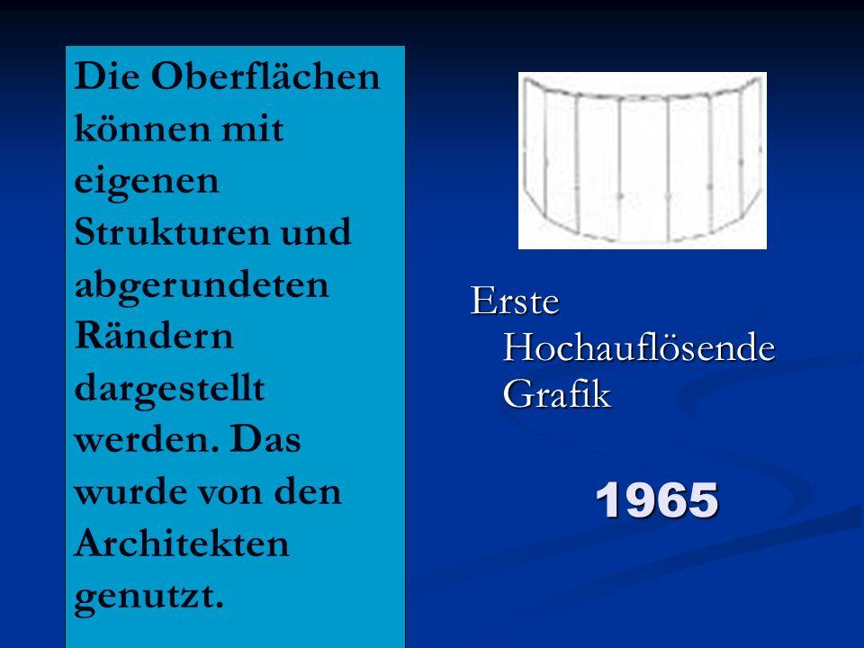 1965 Erste Hochauflösende Grafik Die Oberflächen können mit eigenen Strukturen und abgerundeten Rändern dargestellt werden. Das wurde von den Architek