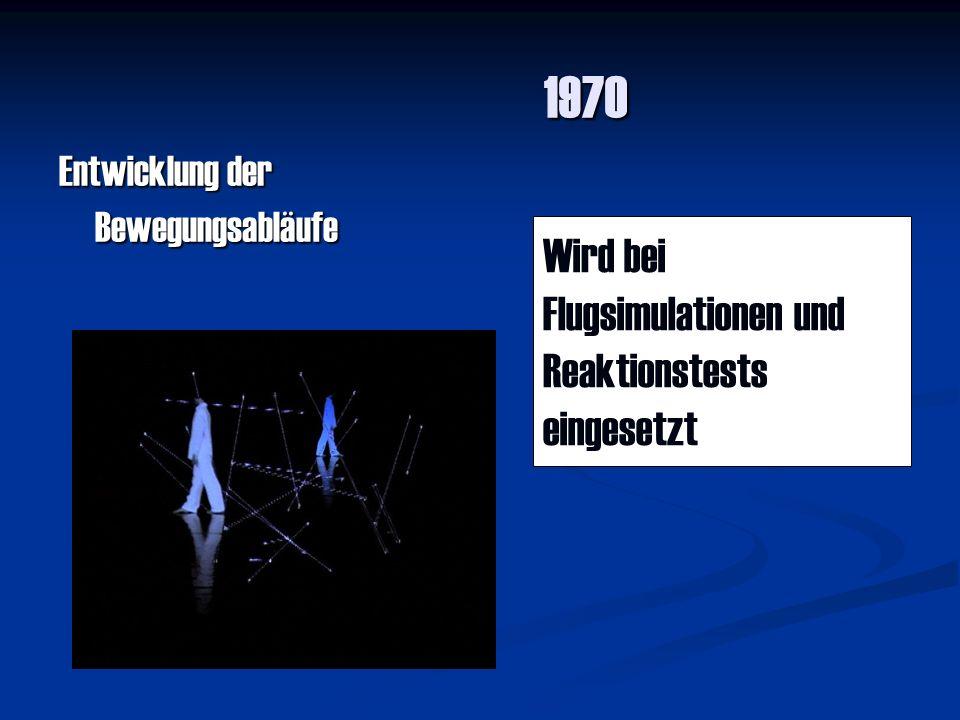 1971-80 Entwicklung der komplizierten 3D Bewegungsabläufe Die Flugsimulatoren wurden weiter entwickelt, Autodesign wurde damit entwickelt und Trickfilme wurden erstellt.