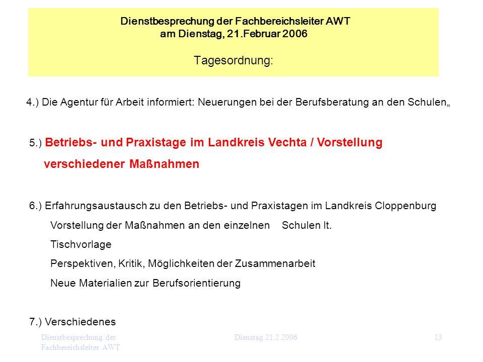 Dienstbesprechung der Fachbereichsleiter AWT Dienstag 21.2.200613 4.) Die Agentur für Arbeit informiert: Neuerungen bei der Berufsberatung an den Schu