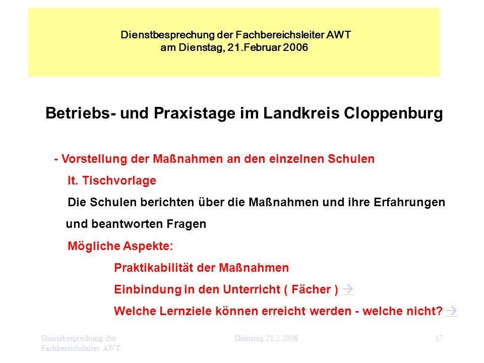 Dienstbesprechung der Fachbereichsleiter AWT Dienstag 21.2.200617 Betriebs- und Praxistage im Landkreis Cloppenburg - Vorstellung der Maßnahmen an den
