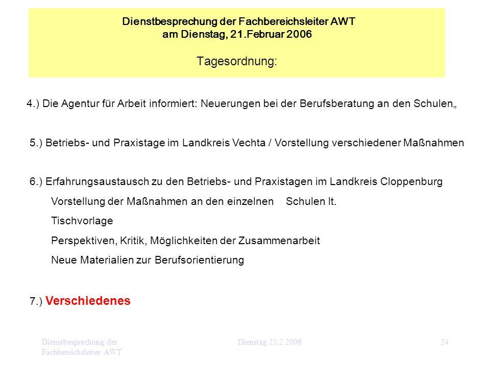 Dienstbesprechung der Fachbereichsleiter AWT Dienstag 21.2.200624 4.) Die Agentur für Arbeit informiert: Neuerungen bei der Berufsberatung an den Schu