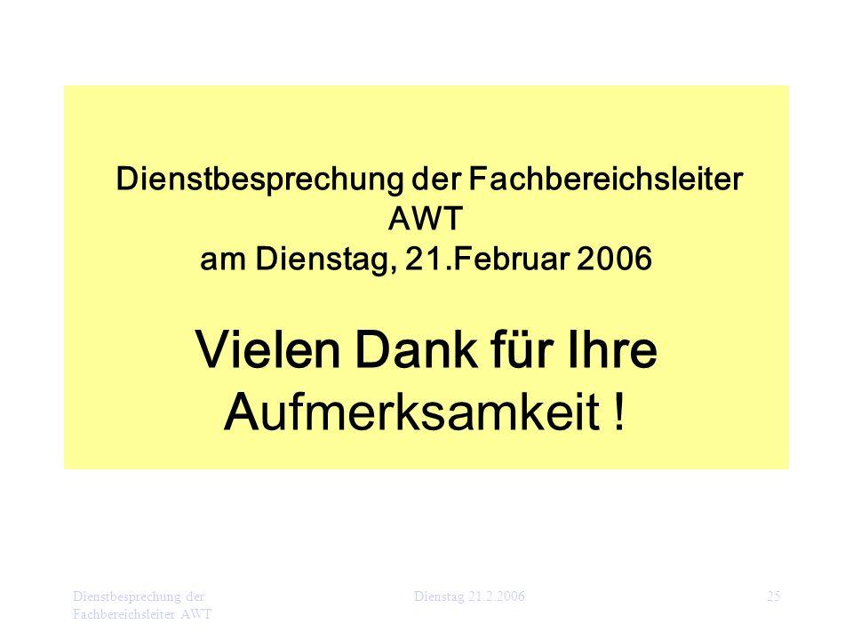 Dienstbesprechung der Fachbereichsleiter AWT Dienstag 21.2.200625 Dienstbesprechung der Fachbereichsleiter AWT am Dienstag, 21.Februar 2006 Vielen Dan