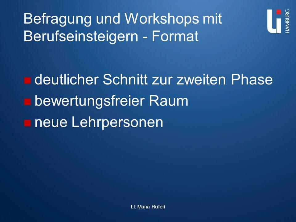 Befragung und Workshops mit Berufseinsteigern - Format deutlicher Schnitt zur zweiten Phase bewertungsfreier Raum neue Lehrpersonen LI: Maria Hufert