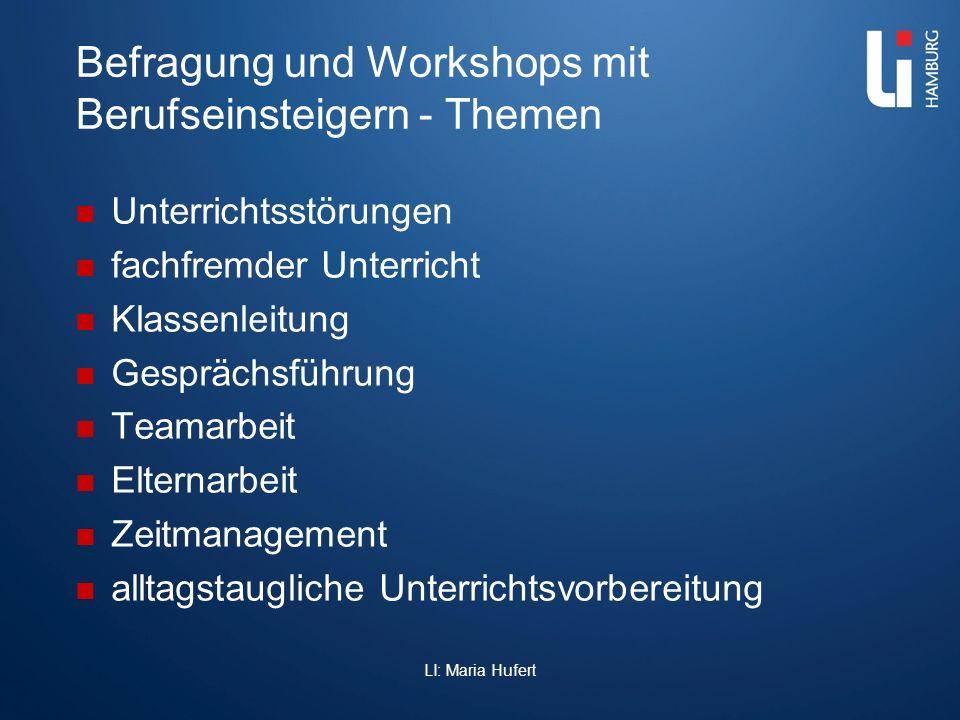 Befragung und Workshops mit Berufseinsteigern - Themen Unterrichtsstörungen fachfremder Unterricht Klassenleitung Gesprächsführung Teamarbeit Elternar