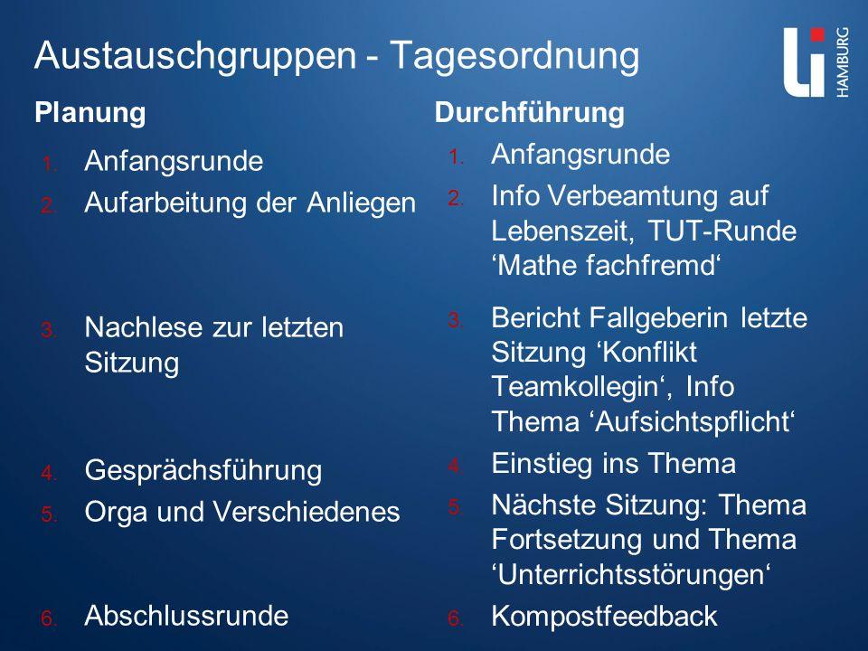 Austauschgruppen - Tagesordnung Planung 1. Anfangsrunde 2. Aufarbeitung der Anliegen 3. Nachlese zur letzten Sitzung 4. Gesprächsführung 5. Orga und V