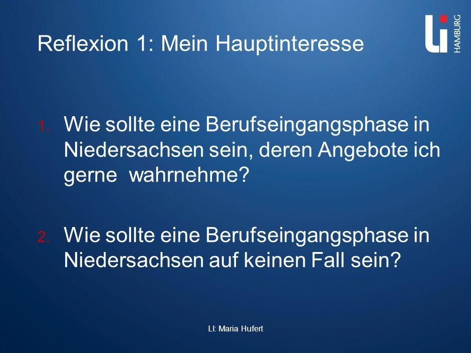 Reflexion 1: Mein Hauptinteresse 1. Wie sollte eine Berufseingangsphase in Niedersachsen sein, deren Angebote ich gerne wahrnehme? 2. Wie sollte eine