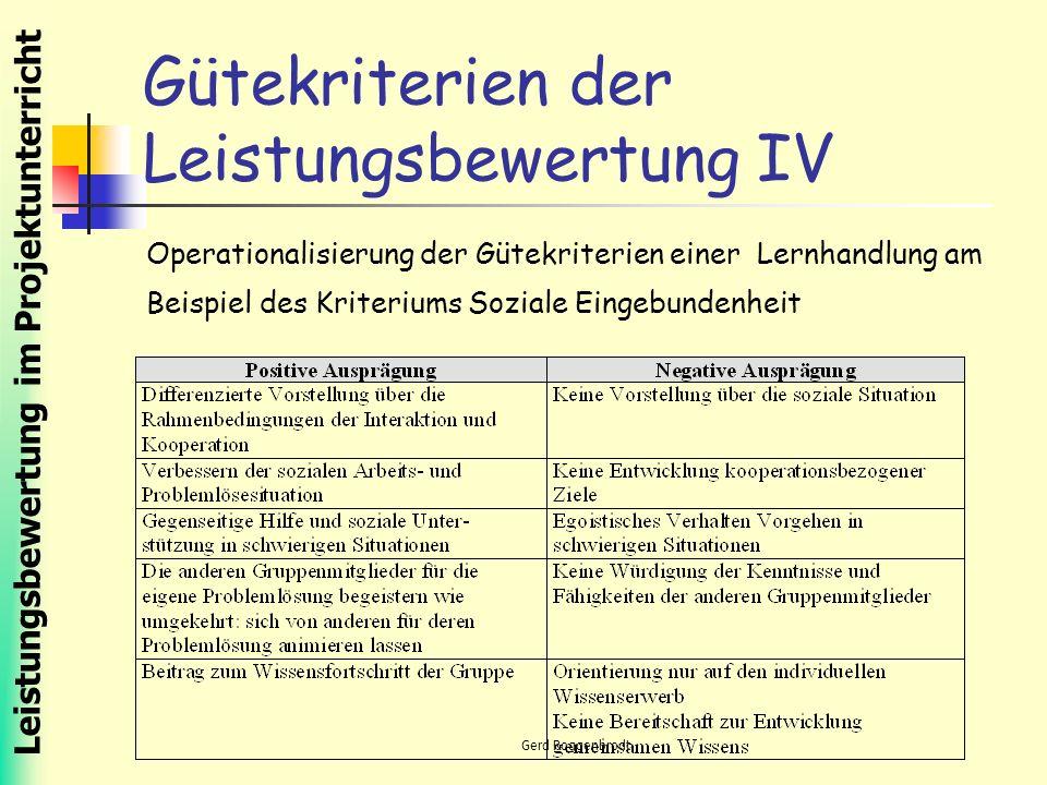 Leistungsbewertung im Projektunterricht Gerd Roggenbrodt Gütekriterien der Leistungsbewertung IV Operationalisierung der Gütekriterien einer Lernhandlung am Beispiel des Kriteriums Soziale Eingebundenheit