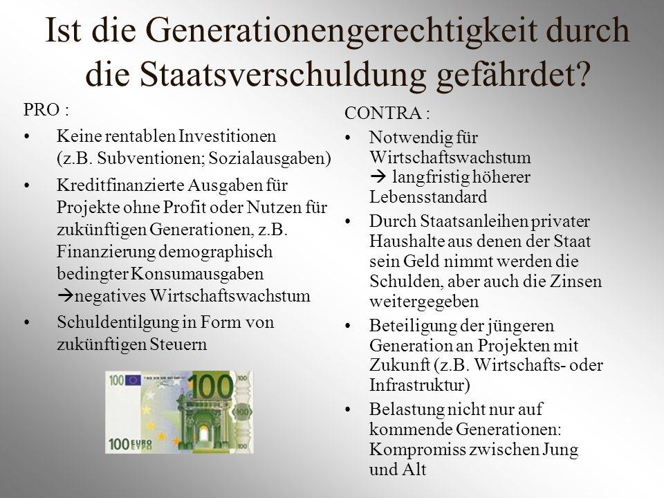Ist die Generationengerechtigkeit durch die Staatsverschuldung gefährdet? PRO : Keine rentablen Investitionen (z.B. Subventionen; Sozialausgaben) Kred