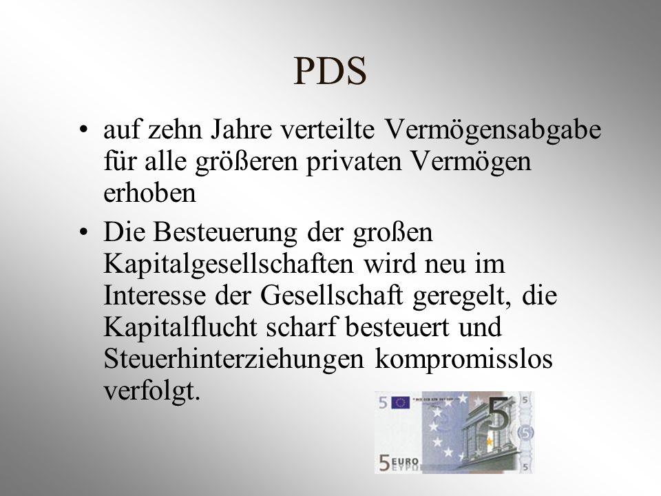 PDS auf zehn Jahre verteilte Vermögensabgabe für alle größeren privaten Vermögen erhoben Die Besteuerung der großen Kapitalgesellschaften wird neu im