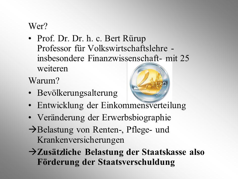 Wer? Prof. Dr. Dr. h. c. Bert Rürup Professor für Volkswirtschaftslehre - insbesondere Finanzwissenschaft- mit 25 weiteren Warum? Bevölkerungsalterung