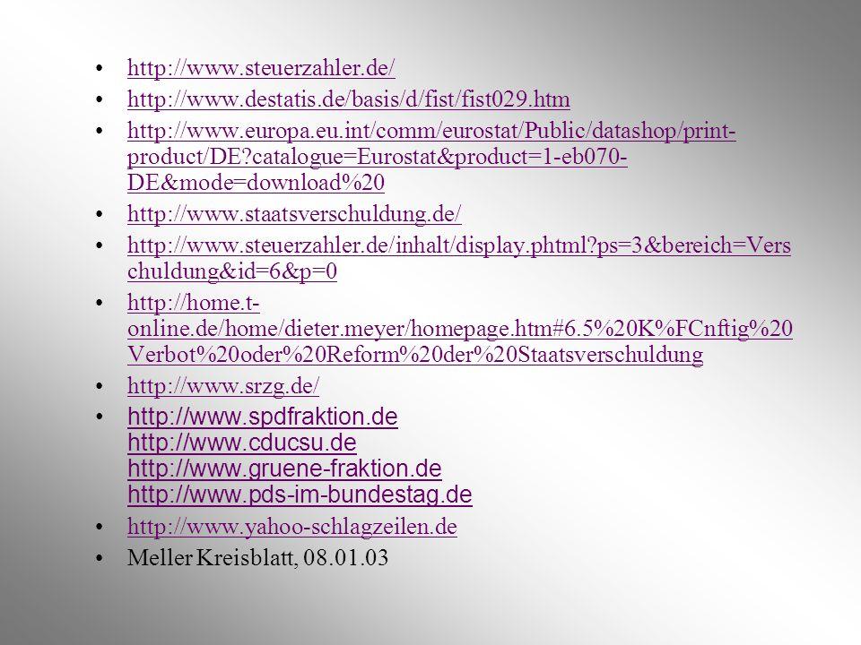 http://www.steuerzahler.de/ http://www.destatis.de/basis/d/fist/fist029.htm http://www.europa.eu.int/comm/eurostat/Public/datashop/print- product/DE?c