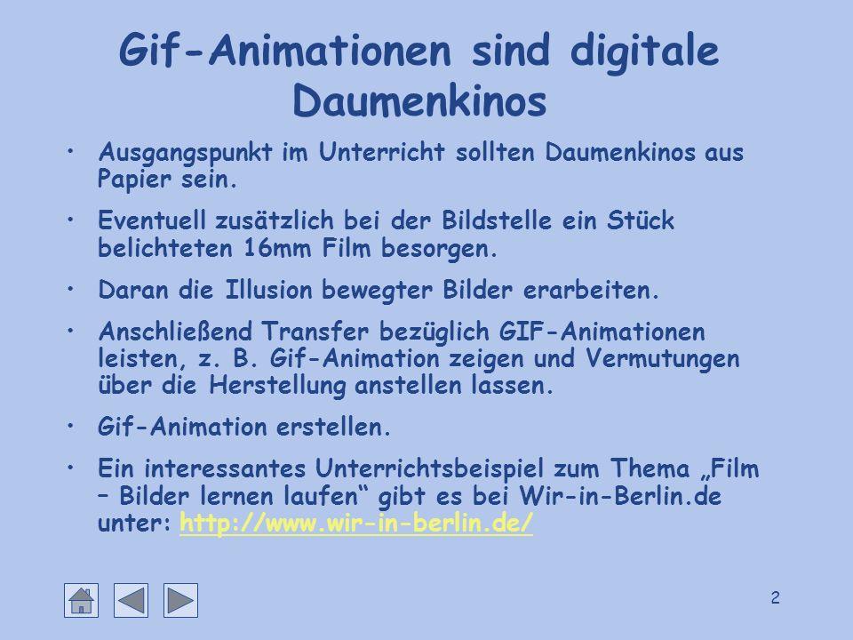 2 Gif-Animationen sind digitale Daumenkinos Ausgangspunkt im Unterricht sollten Daumenkinos aus Papier sein. Eventuell zusätzlich bei der Bildstelle e