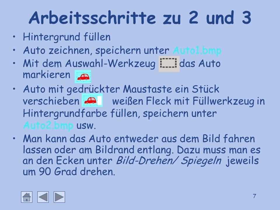 7 Arbeitsschritte zu 2 und 3 Hintergrund füllen Auto zeichnen, speichern unter Auto1.bmp Mit dem Auswahl-Werkzeug das Auto markieren Auto mit gedrückt