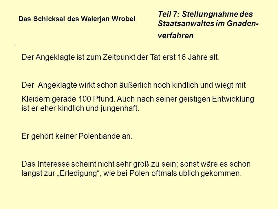Das Schicksal des Walerjan Wrobel. Teil 7: Stellungnahme des Staatsanwaltes im Gnaden- verfahren Der Angeklagte ist zum Zeitpunkt der Tat erst 16 Jahr