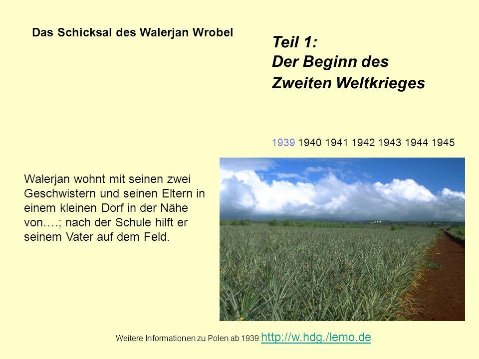 Das Schicksal des Walerjan Wrobel Walerjan wohnt mit seinen zwei Geschwistern und seinen Eltern in einem kleinen Dorf in der Nähe von….; nach der Schu