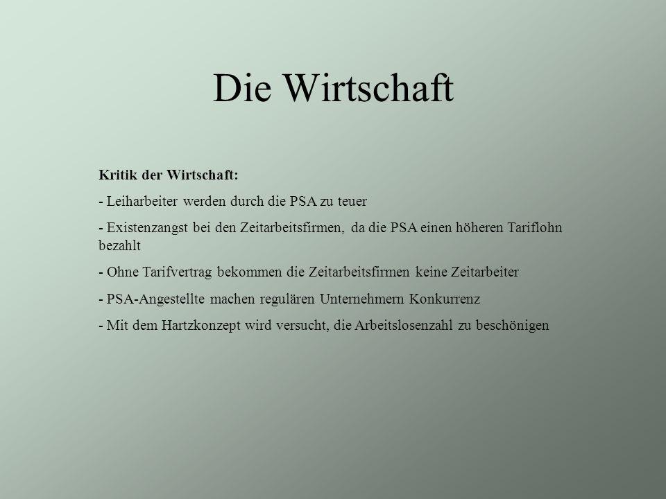 Die Politik CDU/CSU: - lehnt das Brückengeld, die PSA und die Minijobregelung ab - Das Konzept enthält einige gute Ansätze (Weiterbildung) FDP: - Das