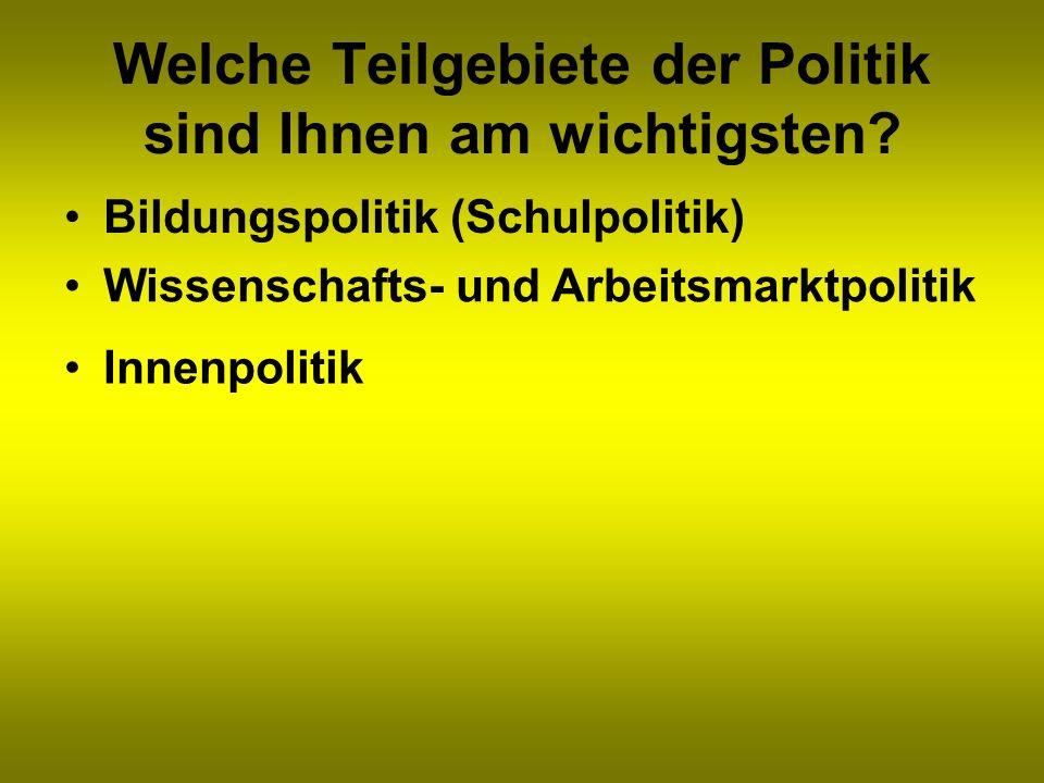 Welche Teilgebiete der Politik sind Ihnen am wichtigsten? Bildungspolitik (Schulpolitik) Wissenschafts- und Arbeitsmarktpolitik Innenpolitik