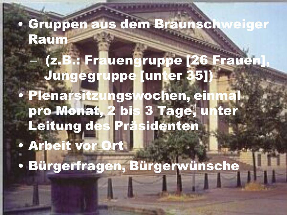 Gruppen aus dem Braunschweiger Raum – (z.B.: Frauengruppe [26 Frauen], Jungegruppe [unter 35]) Plenarsitzungswochen, einmal pro Monat, 2 bis 3 Tage, u