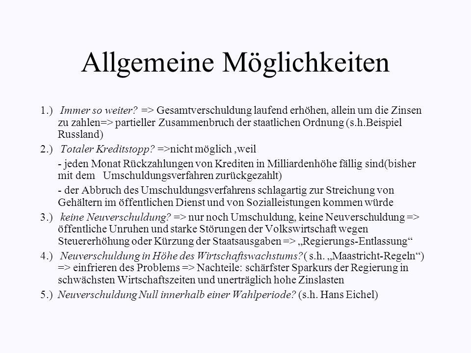 Vorschläge zur Lösung Allgemeine Möglichkeiten Maastricht Hans Eichel neoliberale Position gewerkschaftliche Präsentation WIR