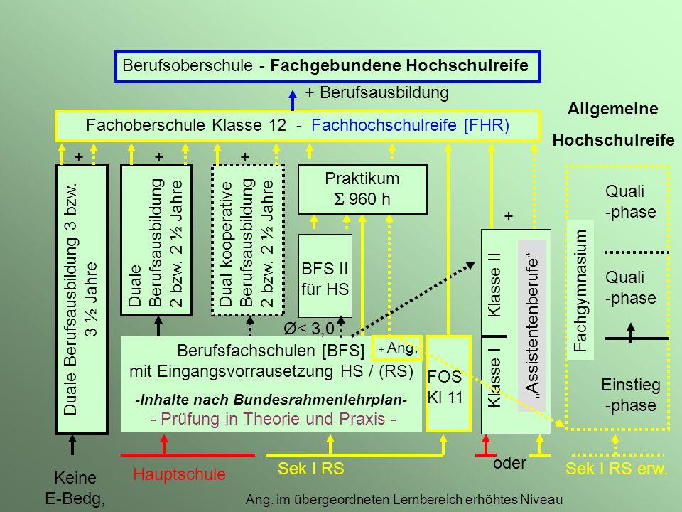 Berufsfachschulen [BFS] mit Eingangsvorrausetzung HS / (RS) -Inhalte nach Bundesrahmenlehrplan- - Prüfung in Theorie und Praxis - + Ang.