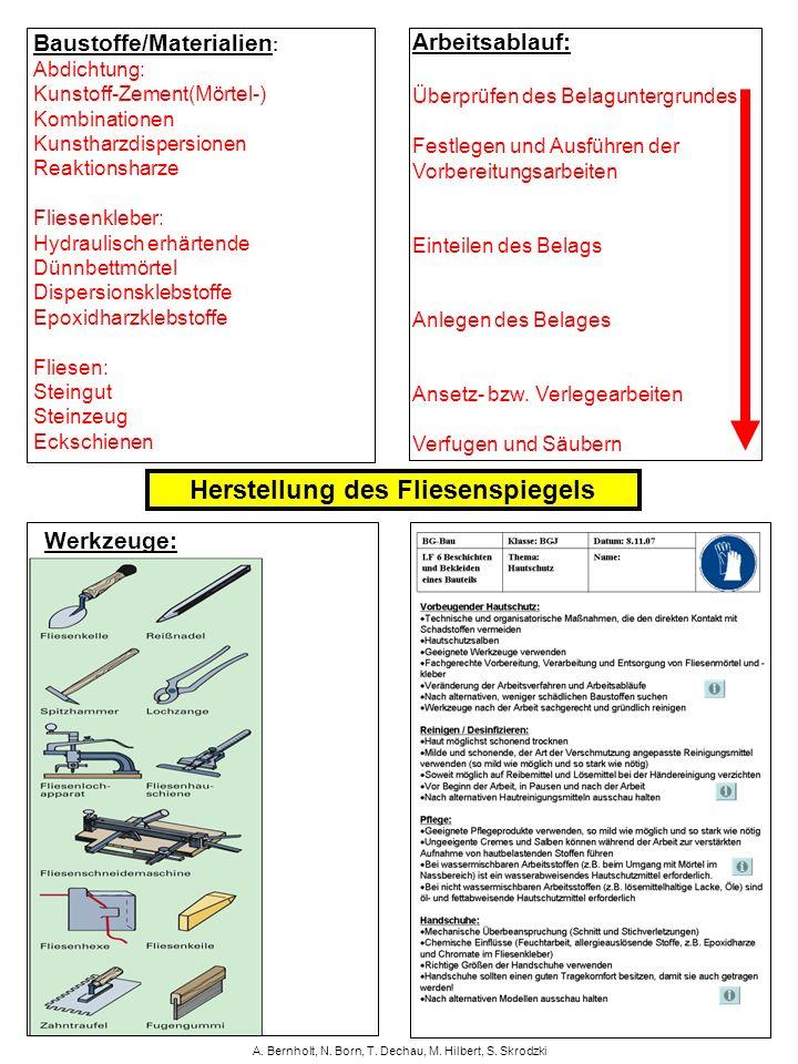 A. Bernholt, N. Born, T. Dechau, M. Hilbert, S. Skrodzki Baustoffe/Materialien : Abdichtung: Kunstoff-Zement(Mörtel-) Kombinationen Kunstharzdispersio