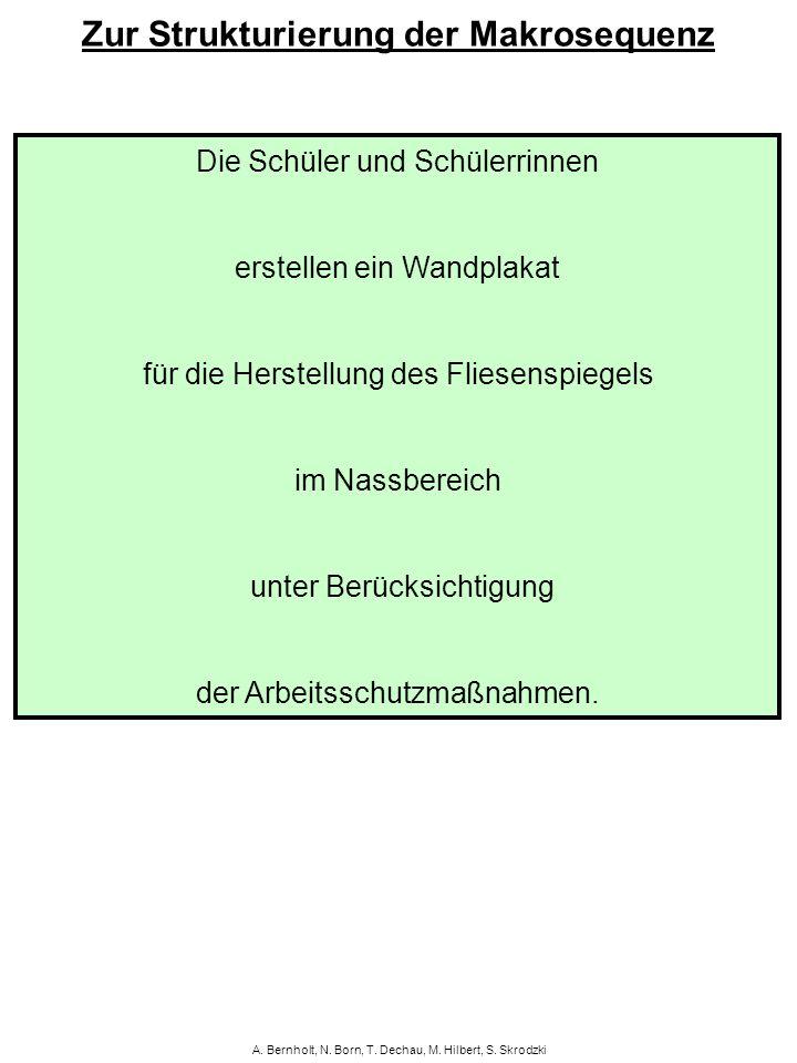 A. Bernholt, N. Born, T. Dechau, M. Hilbert, S. Skrodzki Zur Strukturierung der Makrosequenz Die Schüler und Schülerrinnen erstellen ein Wandplakat fü