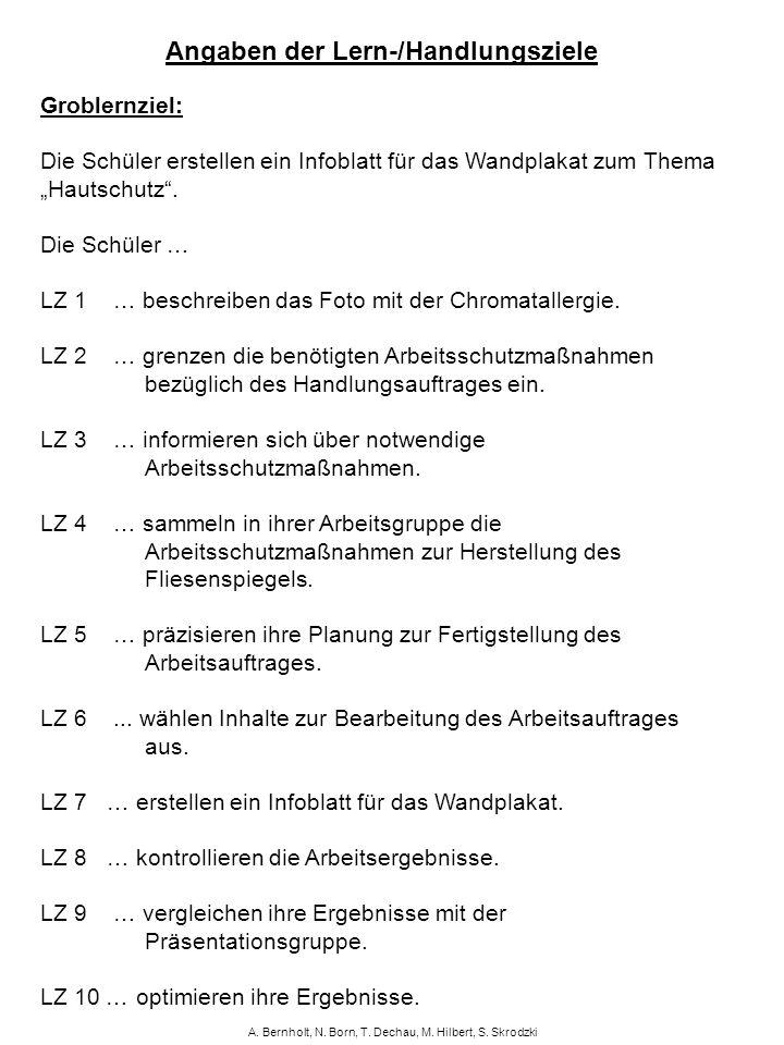A. Bernholt, N. Born, T. Dechau, M. Hilbert, S. Skrodzki Angaben der Lern-/Handlungsziele Groblernziel: Die Schüler erstellen ein Infoblatt für das Wa