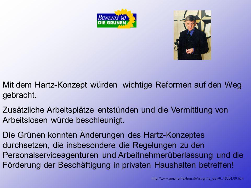 Die SPD ist Befürworter des Hartz-Konzeptes: - Bundeskanzler Gerhard Schröder meint in einer Rede, dass das Konzept den Arbeitsmarkt und die Politik w