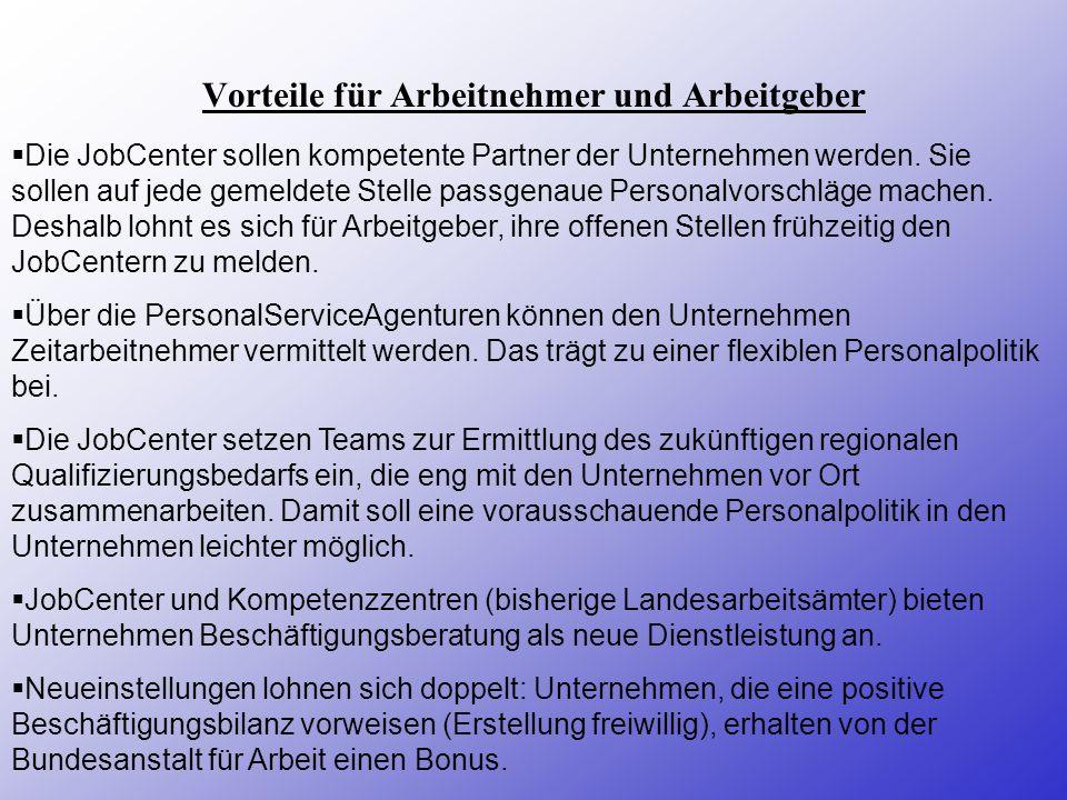 1.) Aufgabenkonzentration auf Kernbereiche ( Arbeits- und Ausbildungsstellenvermittlung) 2.) Im Zentrum: Vermittlung und Beratung (Straffung der Verwa