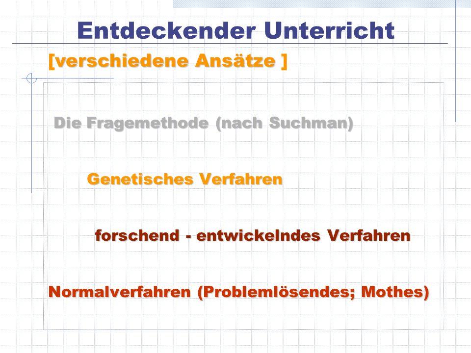Entdeckender Unterricht Die Fragemethode (nach Suchman) Die Fragemethode (nach Suchman) Genetisches Verfahren Genetisches Verfahren forschend - entwic