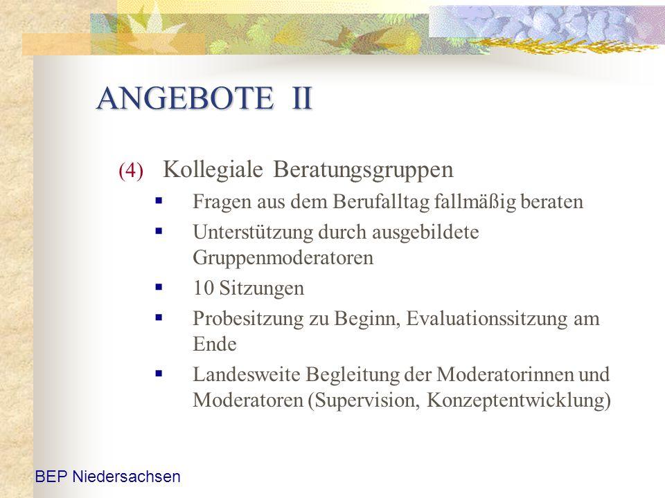 ANGEBOTE II (4) Kollegiale Beratungsgruppen Fragen aus dem Berufalltag fallmäßig beraten Unterstützung durch ausgebildete Gruppenmoderatoren 10 Sitzun