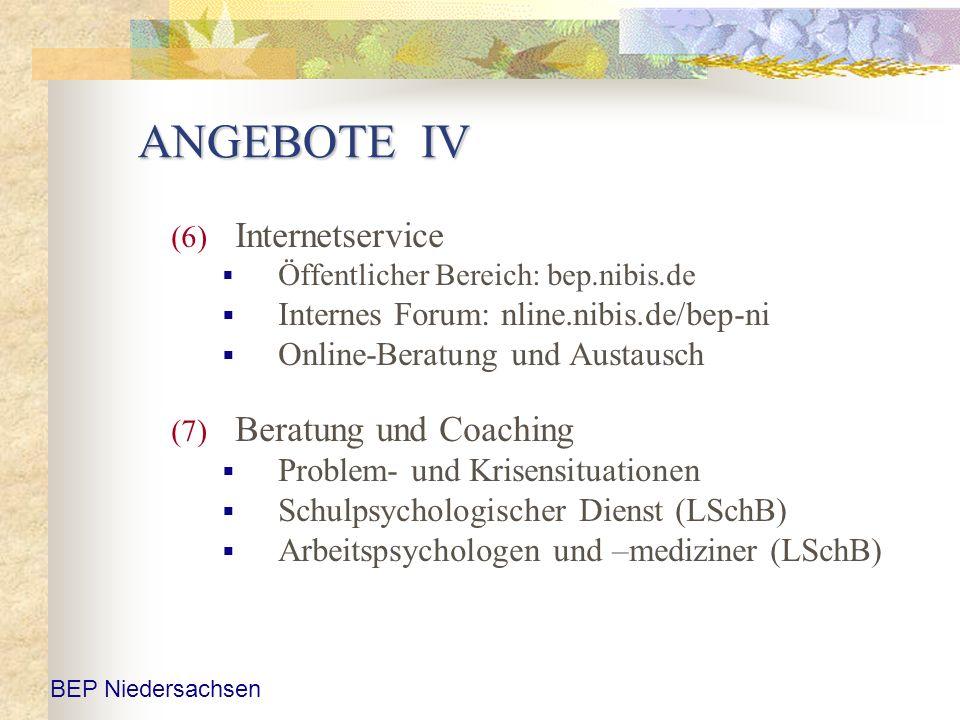 ANGEBOTE IV (6) Internetservice Öffentlicher Bereich: bep.nibis.de Internes Forum: nline.nibis.de/bep-ni Online-Beratung und Austausch (7) Beratung un