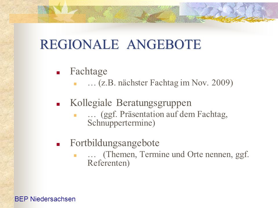 REGIONALE ANGEBOTE Fachtage … (z.B. nächster Fachtag im Nov. 2009) Kollegiale Beratungsgruppen … (ggf. Präsentation auf dem Fachtag, Schnuppertermine)