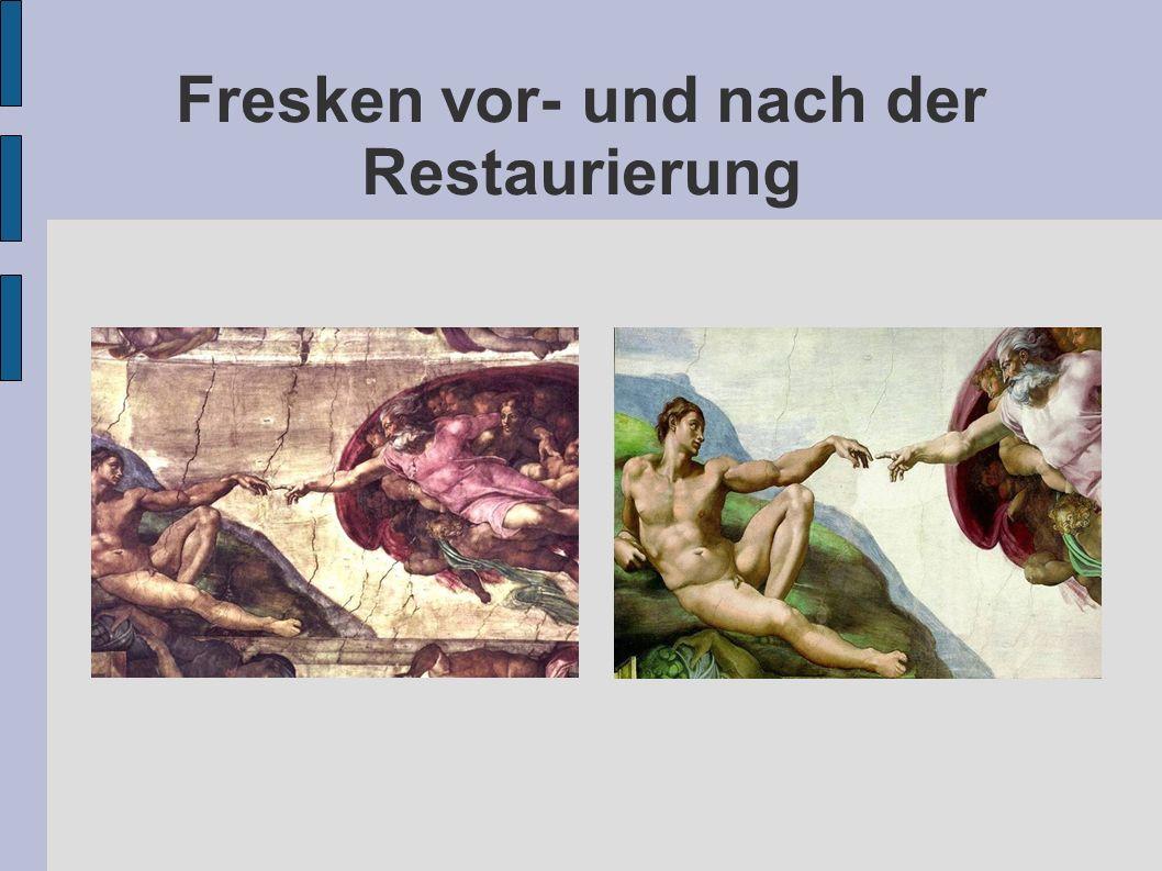 Fresken vor- und nach der Restaurierung
