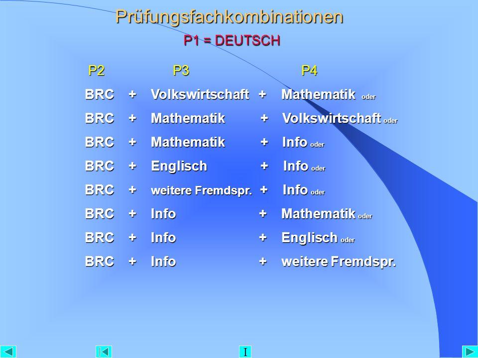 Prüfungsfachkombinationen P1 = DEUTSCH P2 P3 P4 P2 P3 P4 BRC + Volkswirtschaft + Mathematik oder BRC + Mathematik + Volkswirtschaft oder BRC + Mathema