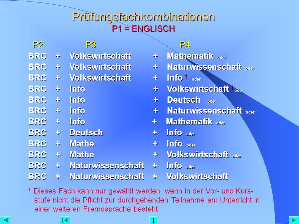 Prüfungsfachkombinationen P1 = ENGLISCH P2 P3 P4 P2 P3 P4 BRC + Volkswirtschaft + Mathematik oder BRC + Volkswirtschaft + Naturwissenschaft oder BRC +