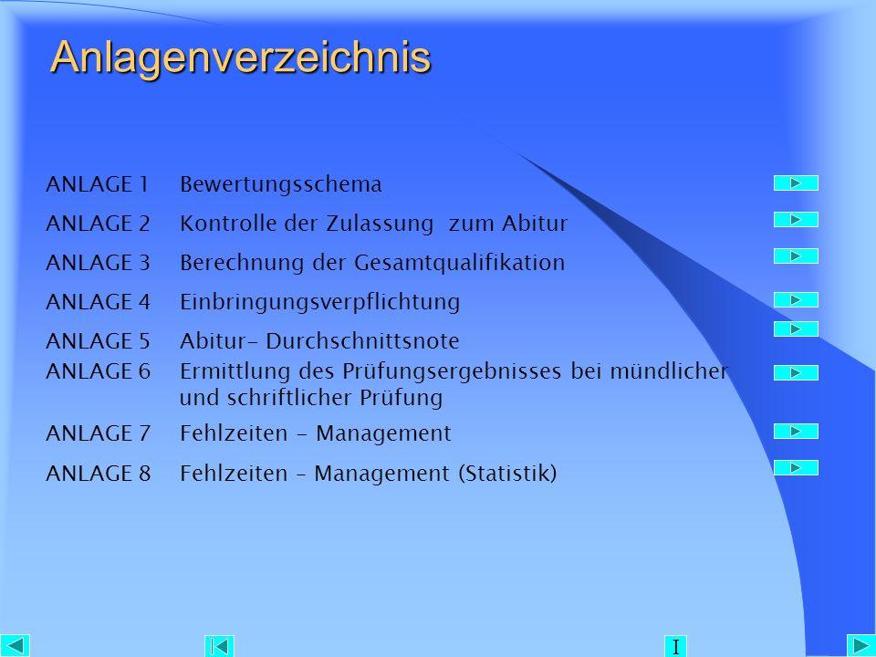 Anlagenverzeichnis Anlagenverzeichnis ANLAGE 1 Bewertungsschema ANLAGE 2 Kontrolle der Zulassung zum Abitur ANLAGE 3 Berechnung der Gesamtqualifikatio