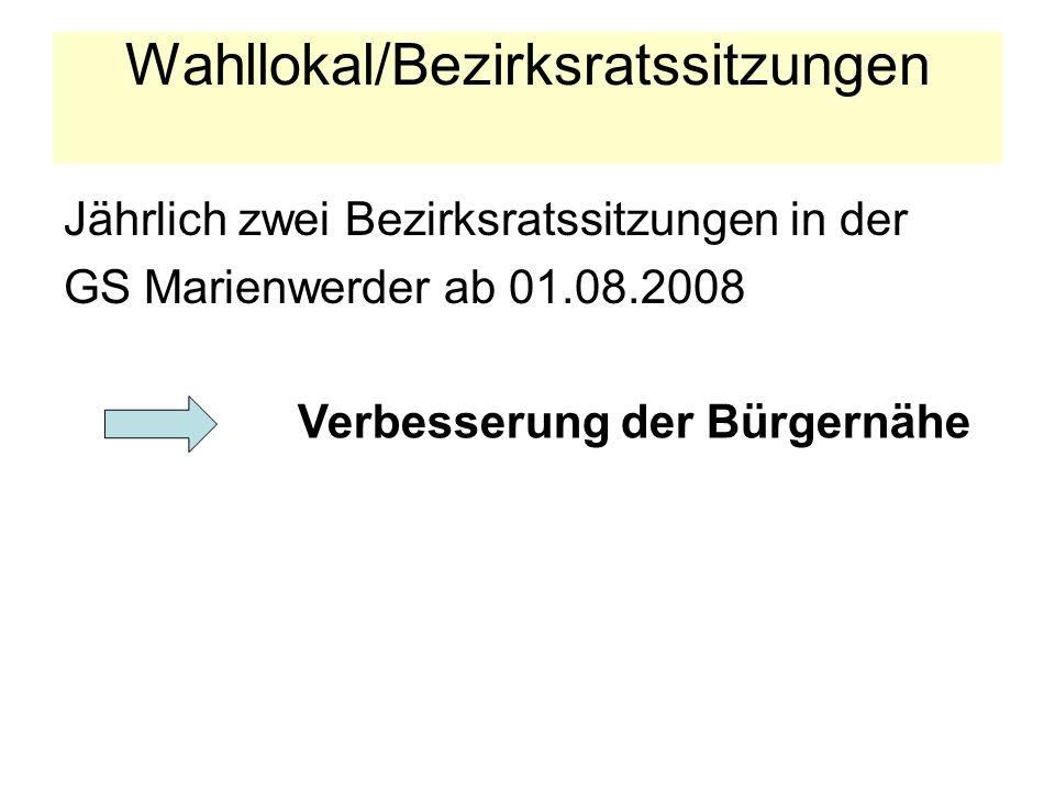 Wahllokal/Bezirksratssitzungen Jährlich zwei Bezirksratssitzungen in der GS Marienwerder ab 01.08.2008 Verbesserung der Bürgernähe