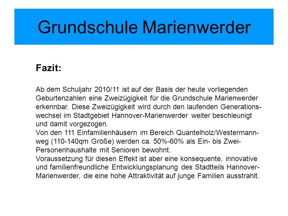 Grundschule Marienwerder Fazit: Ab dem Schuljahr 2010/11 ist auf der Basis der heute vorliegenden Geburtenzahlen eine Zweizügigkeit für die Grundschul